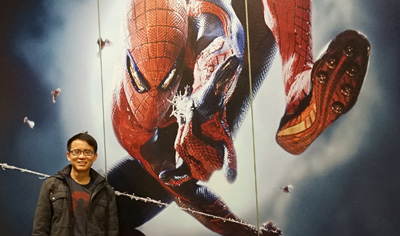Photo with the gigantic Spider-Man wall at the lift area