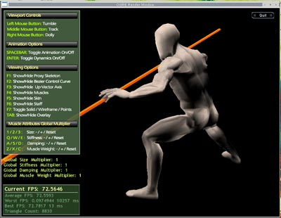 The OGRE program used to visualise the muscle system in real-time