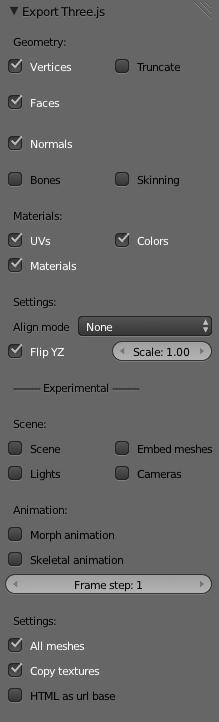 Blender .js export settings that I was using