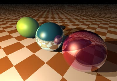 Raytrace render of 3 spheres: opaque, reflective and translucent