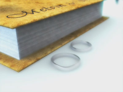 The scene with DOF applied. Notice how the part of the book nearer the camera appears clear while the part further away appears blur