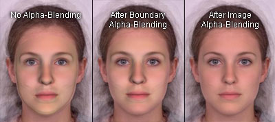 Applying alpha-blending to composite the 3D face back onto the 2D image