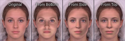 Results of relighting a 2D image of a frontal female face