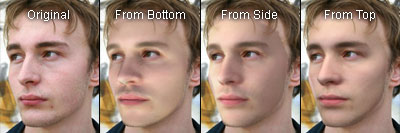 Results of relighting a 2D image of a slightly rotated male face