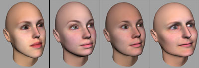 4 out of the 20 face samples collected using FaceGen Modeller