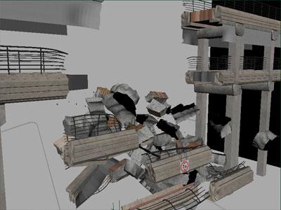Rigid body simulation of bridge collapse