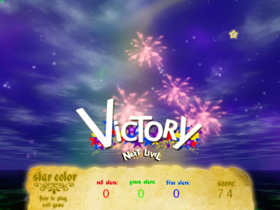 The victory screen